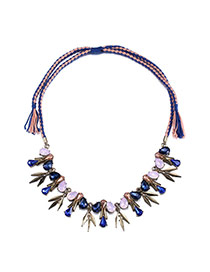 Personality Blue+pink Water Drop Shape Diamond Decorated Weave Design Alloy Bib Necklaces