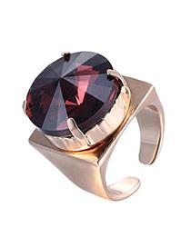 Luxury Purple Round Diamond Decorated Opening Design Rhinestone Korean Rings