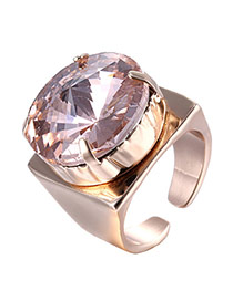 Luxury Pink Round Diamond Decorated Opening Design Rhinestone Korean Rings