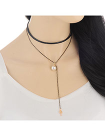 Fashion Gold Color Key&pearl Pendant Decorated Double Layer Design Alloy Bib Necklaces