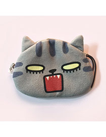 Lovely Gray Cartoon Cat Pattern Decorated Simple Design Plush Wallet