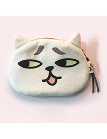 Lovely White Cartoon Cat Pattern Decorated Simple Design Plush Wallet