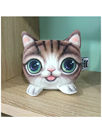 Lovely Brown Big Eyes Cat Pattern Decorated Simple activated carbon doll