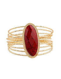 Exaggerate Red Oval Gemstone Decorated Multilayer Design Alloy Fashion Bangles