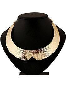 Exaggerate Gold Color Pure Metal Decorated Collar Shape Design