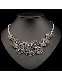 Exaggerate Gray Hollow Out Oval Shape Pendant Decorated Simple Design Alloy Bib Necklaces