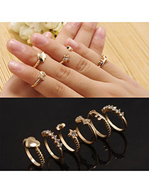 Fashion Gold Color Multielement Decorated Simple Design(6pcs)
