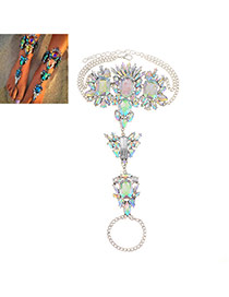 Exaggerate Multi-color Geometric Dimond Decorated Simple Design Alloy Fashion Anklets
