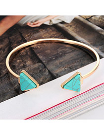 Elegant Green Triangle Shape Decorated Opening Design Alloy Fashion Bangles