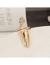 Fashion Gold Color Diamond &star Decorated Simple Design Alloy Korean Rings