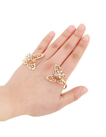 Sweet Gold Color Hollow Out Butterfly Decorated Opening Design Alloy Fashion Bangles