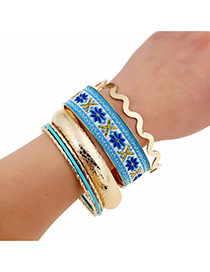 Exaggerate Blue Flower Pattern Decorated Multilayer Design Alloy Fashion Bangles