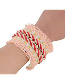 Ethnic Red Hand-woven Tassel Decorated Opening Design Alloy Fashion Bangles