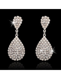 Luxury Silver Color Full Diamond Decorated Waterdrop Shape Design
