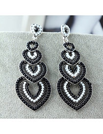 Vintage Black Heart Shape Decorated Multilayer Design Alloy Stud Earrings
