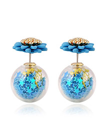 Sweet Sapphire Blue Star Fragments Decorated Ball Shape Design Acrylic Stud Earrings
