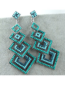 Vintage Peacok Blue Square Shape Decorated Multilayer Design Alloy Stud Earrings