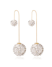 Luxury White Full Diamond Decorated Ball Shape Design Cz Diamond Korean Earrings