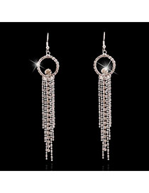Elegant Silver Color Long Tassel Pendant Decorated Round Shape Design Alloy Korean Earrings