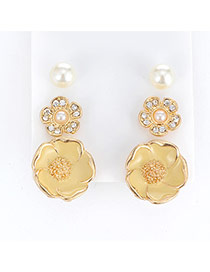 Fashion Gold Color Diamond Decorated Flower Shape Design