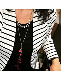 Fashion Pink Multilayer Tassel Pendant Decorated Long Chain Design