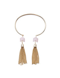 Fashion Gold Color Metal Chains Tassel Pendant Decorated Opening Design Alloy Fashion Bangles