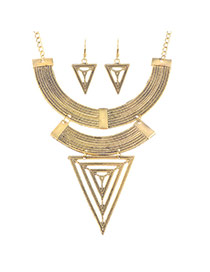 Exaggerated Gold Color Triangle Shape Decorated Simpel Design