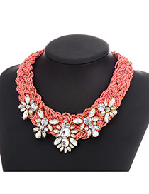 Exaggerate Pink Geometric Diamond Decorated Weaving Design Resin Bib Necklaces