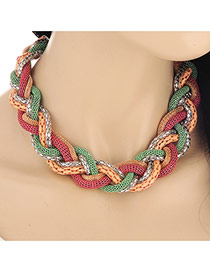 Exaggerated Pink&yellow Snake Shape Decorated  Collar Design