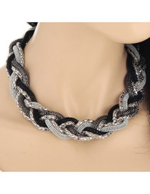 Exaggerated Gray&black Snake Shape Decorated Short Collar Design