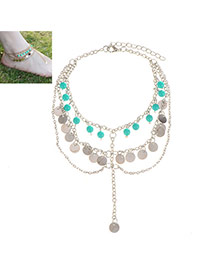 Fashion Silver Color Tassel Pendant Decorated Multilayer Design Alloy Fashion Anklets