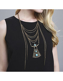 Vintage Silver Color Trapezoid Shape Decorated Mutlilayer Design  Alloy Bib Necklaces