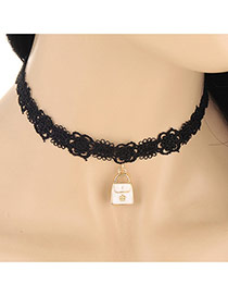 Sweet White Bag Shape Pendant Decorated Hollow Out Chain Design Lace Chokers