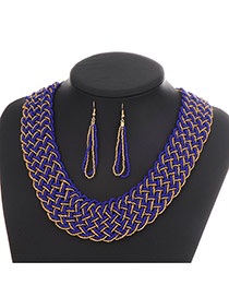 Fashion Royal Blue Hollow Out Decorated Hand-woven Collar Design Beads Bib Necklaces