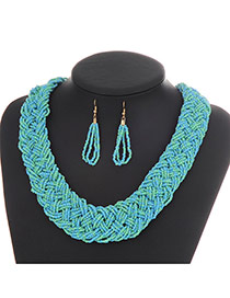 Fashion Light Blue Pure Color Decorated Hand-woven Collar Design