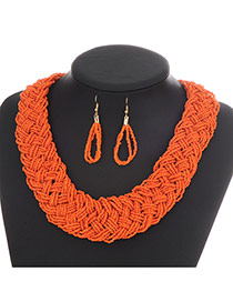 Fashion Orange Pure Color Decorated Hand-woven Collar Design