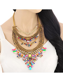 Exaggerated Multi-color Gemstone Flower Shape Decorated Collar Design