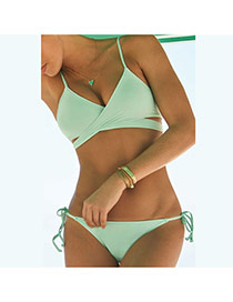 Sexy Light Green Pure Color Decorated Bandage Design Chinlon Sexy Bikini