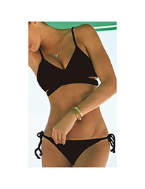 Sexy Black Pure Color Decorated Bandage Design Chinlon Sexy Bikini