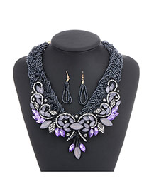 Fashion Gun Black Diamond Leaf Decorated Hand-woven Collar Design Alloy Beaded Necklaces
