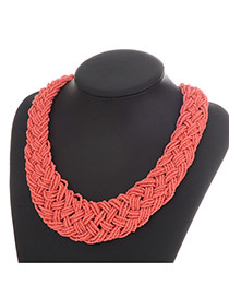 Fashion Watermelon Red Measle Decorated Hand-woven Chain Design Resin Bib Necklaces