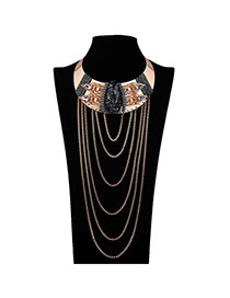 Vintage Black Multilayer Metal Chain Pendant Decorated Collar Design Alloy Chokers
