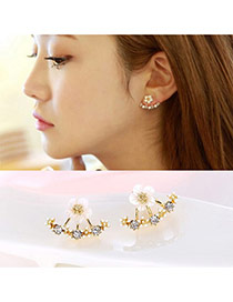 Elegant Gold Color Diamond&flower Decorated Simple Design Alloy Stud Earrings