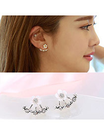 Elegant Silver Color Diamond&flower Decorated Simple Design Alloy Stud Earrings