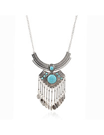 Vintage Peacok Blue Coins Shape Tassel Pendant Decorated Simple Design Alloy Bib Necklaces