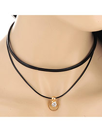 Elegant Black Diamond&dound Shape Pendant Decorated Double Layer Design