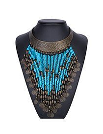 Vintage Blue Coins Tassel Pendant Decorated Collar Design Alloy Bib Necklaces