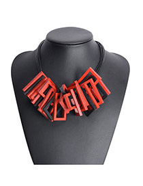 Exaggerated Red Geometric Shape Pendant Matching Decorated Multilayer Design Pu Bib Necklaces