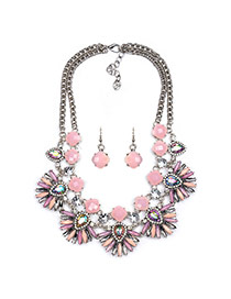 Exaggerated Pink Fan Shape Flower Pendant Decorated Double Layer Design