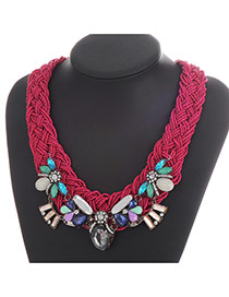 Elegant Purple Geometric Shape Gemstone Decorated Hand-woven Collar Design